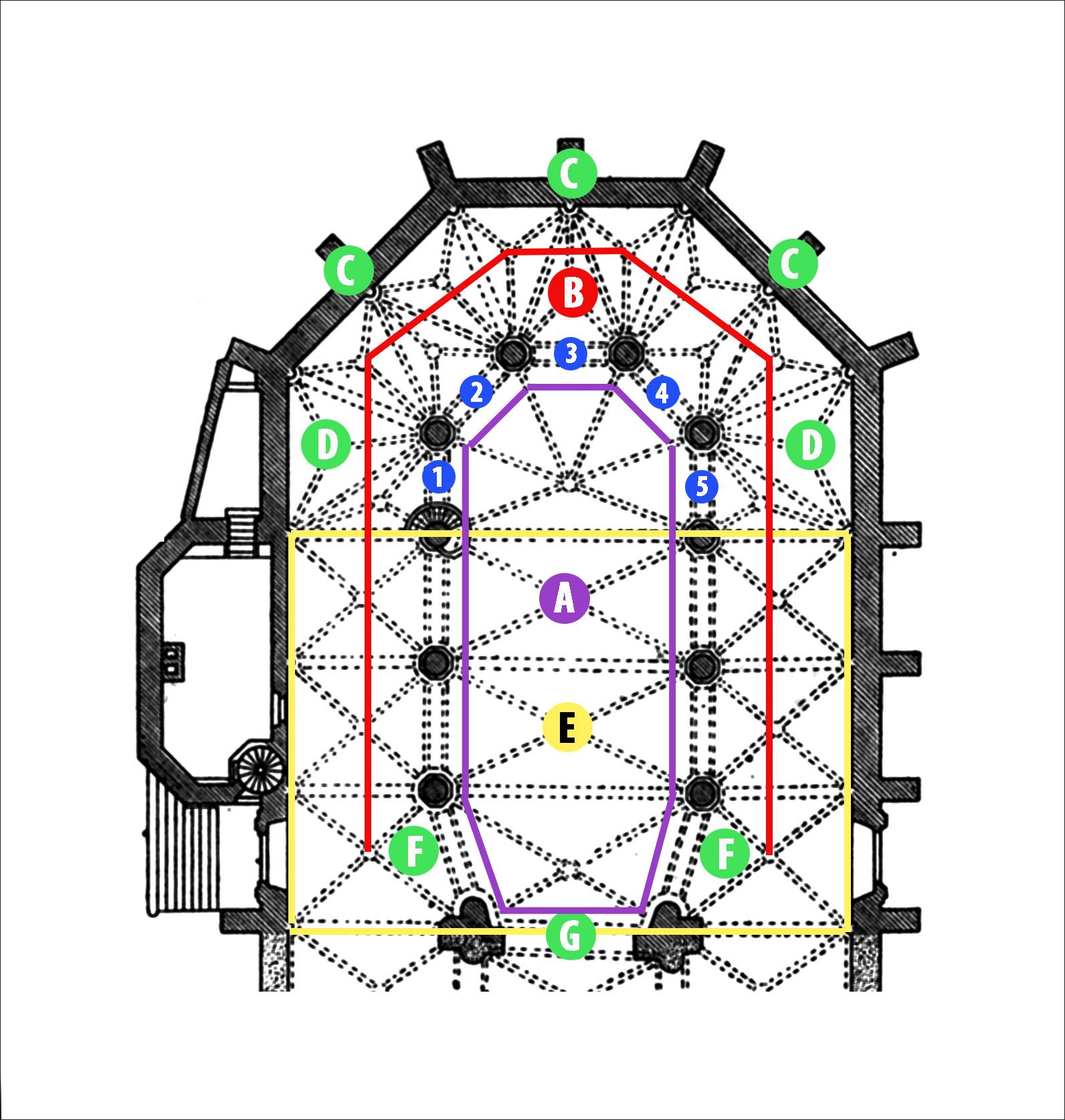 Heidelberg - Heiliggeistkirche - Grundriss des Chors (Quelle: Eberhard Zahn, Die Heiliggeistkirche zu Heidelberg, Plan 2, 1960, ergänzt um Legende)