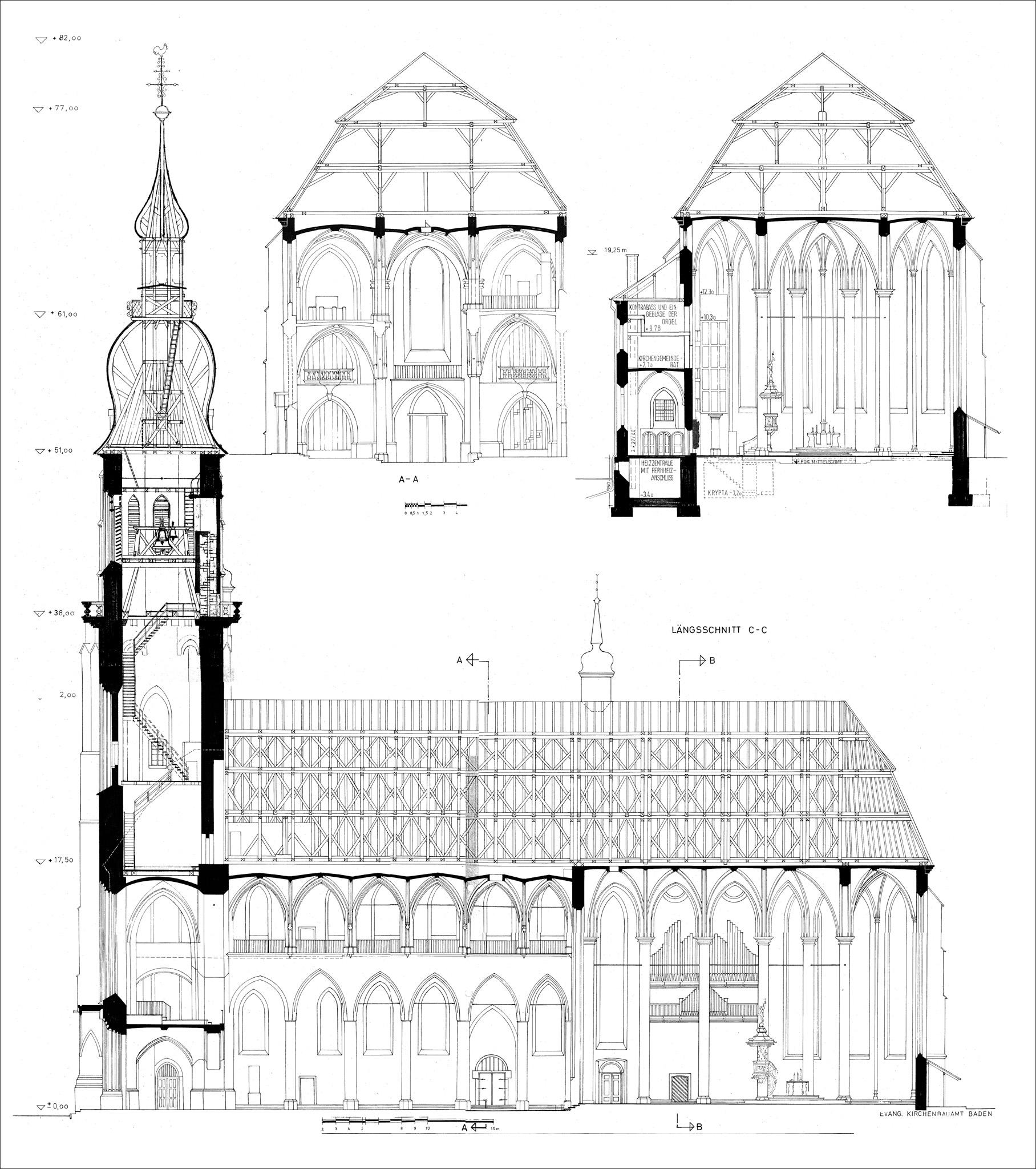 Heidelberg - Heiliggeistkirche - Längschnitt und Querschnitte (Quelle: Evangelische Landeskirche in Baden, Karlsruhe, Planarchiv)