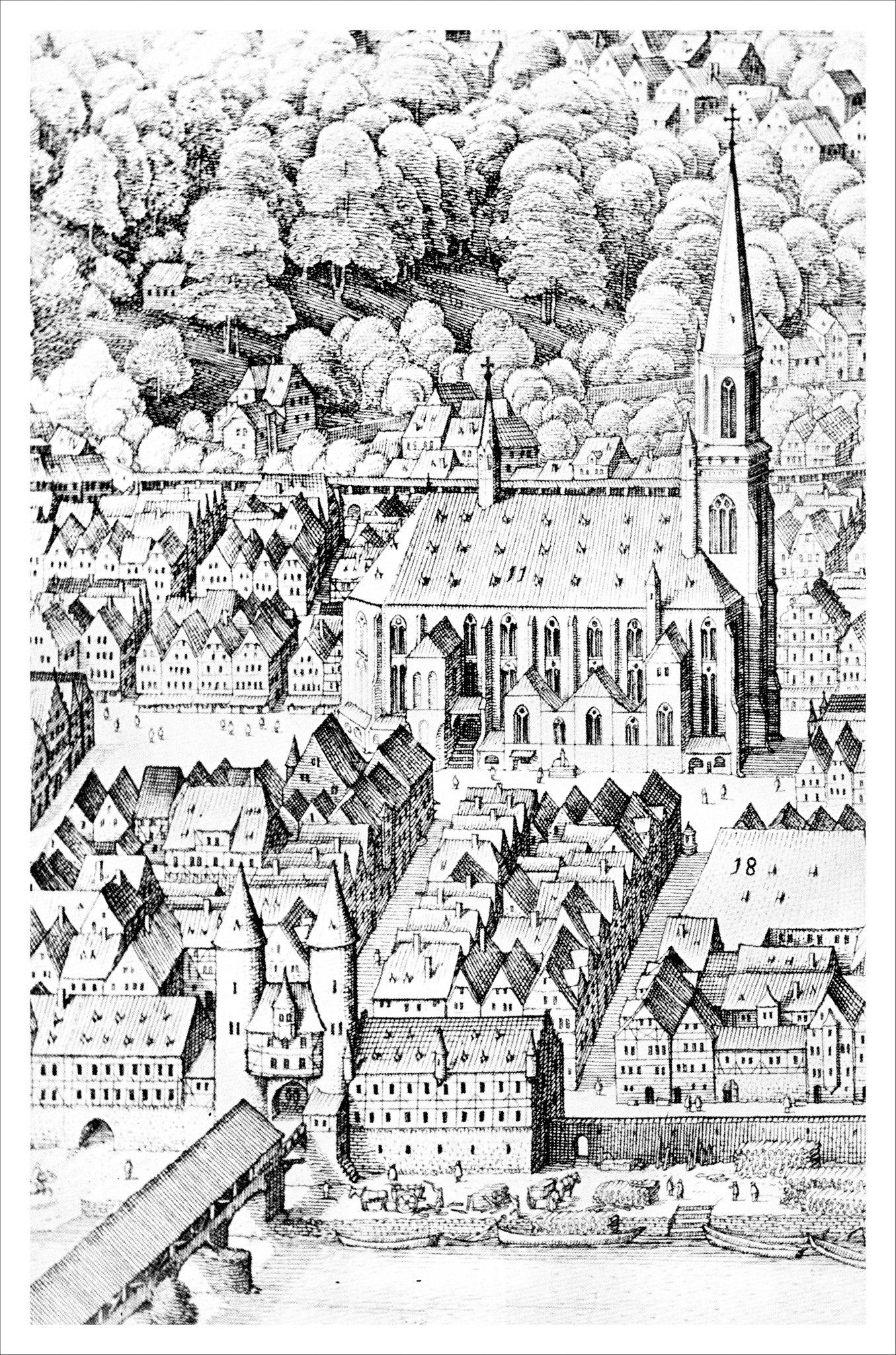 """Heidelberg - Heiliggeistkirche - Ausschnitt aus der """"Großen Ansicht der Stadt Heidelberg"""" von Matthäus Merian d.Ä., um 1620 (Quelle: Eberhard Zahn, Die Heiliggeistkirche zu Heidelberg, 1960)"""