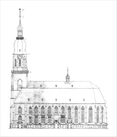 Heidelberg - Heiliggeistkirche - Südansicht (Quelle: Regierungspräsidium Karlsruhe, Referat Denkmalpflege, Plan- und Fotoarchiv)