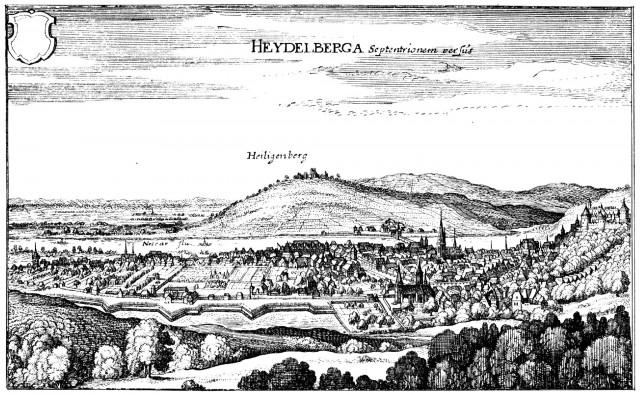 Heidelberg - Heiliggeistkirche - Heidelberg von der Sprunghöhe aus gesehen - Kupferstich, von Matthäus Merian d.Ä., um 1645 (Quelle: Wikimedia Commons)