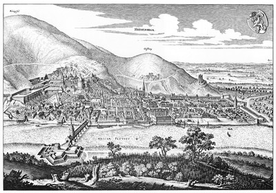 """Heidelberg – Heiliggeistkirche – Kupferstich """"Ansicht der Stadt Heidelberg"""" von Matthäus Merian d.Ä., um 1645 (Quelle: Wikimedia Commons)"""