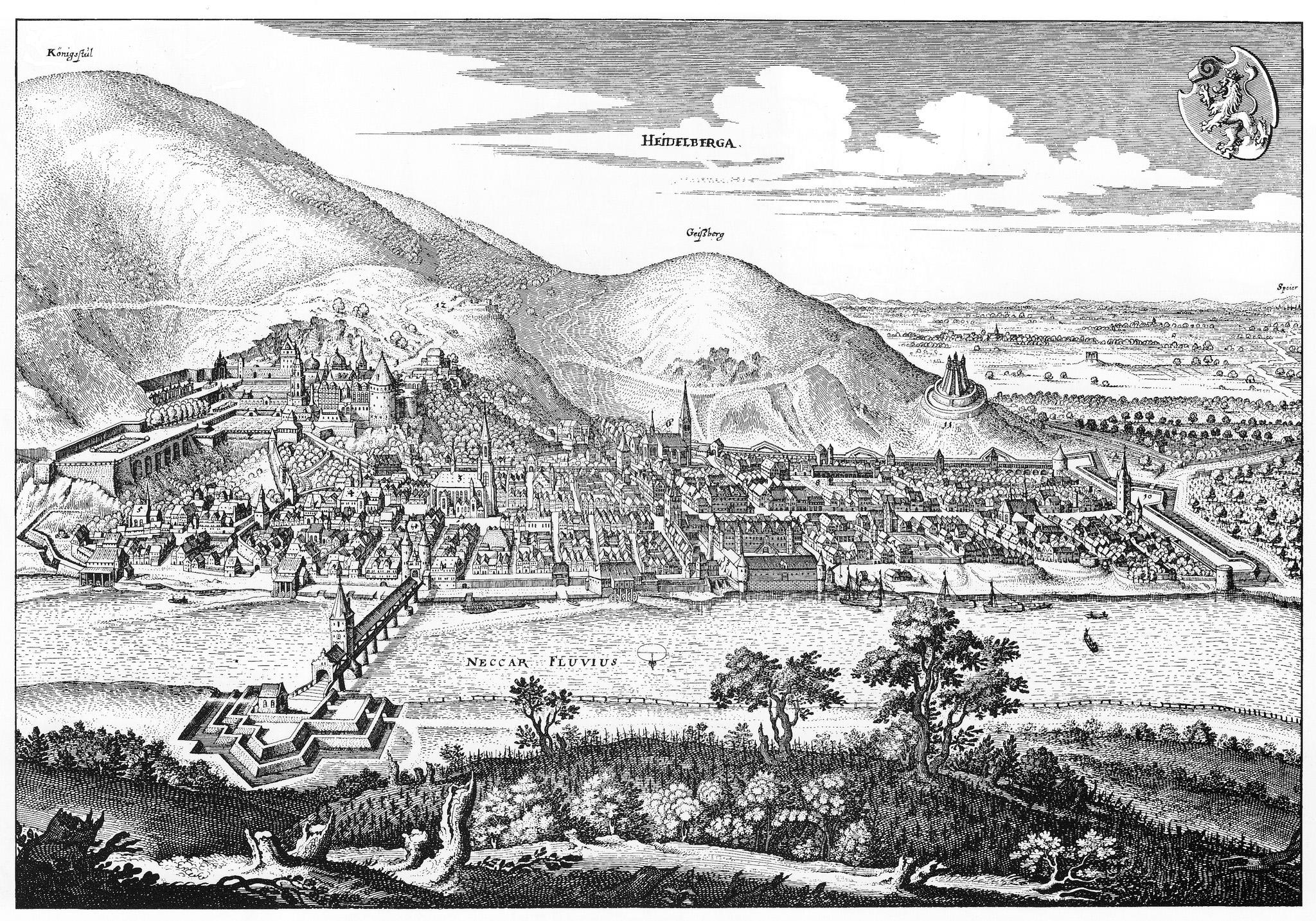 """Heidelberg - Heiliggeistkirche - Kupferstich """"Ansicht der Stadt Heidelberg"""" von Matthäus Merian d.Ä., um 1645 (Quelle: Wikimedia Commons)"""