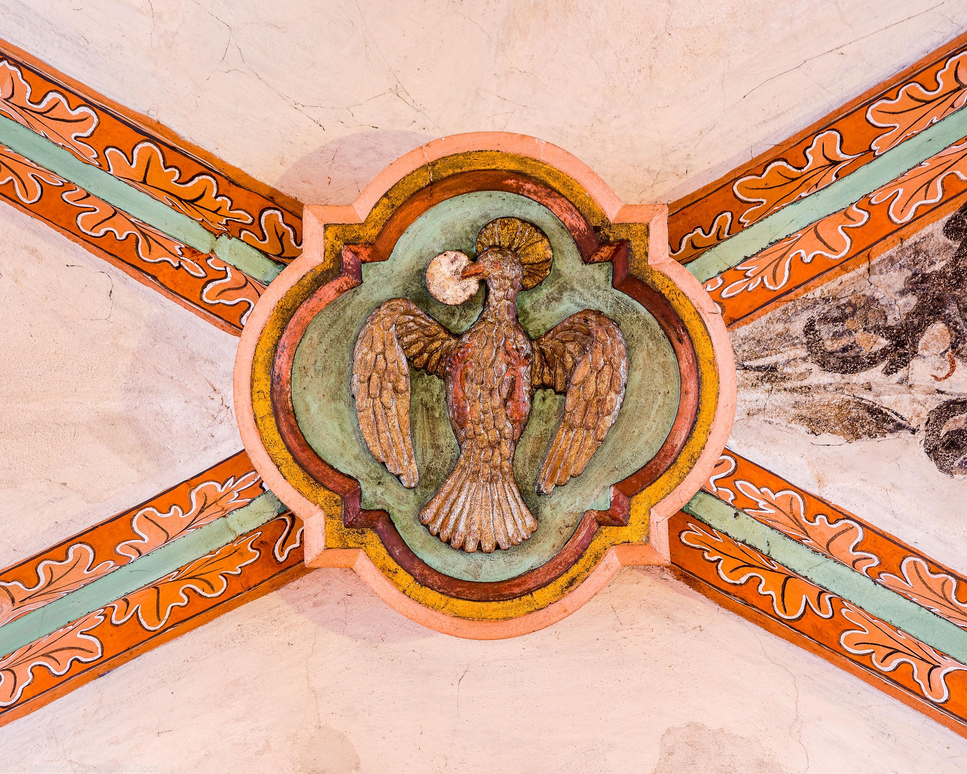 Heidelberg - Heiliggeistkirche - Mittelschiff - 5. Schlußstein, von Westen aus gezählt (aufgenommen im Januar 2013, am frühen Nachmittag)