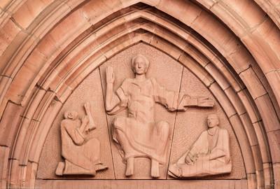 Heidelberg - Heiliggeistkirche - West-/Hauptportal - Tympanon von Edzard Hobbing (aufgenommen im April 2013, am späten Vormittag)
