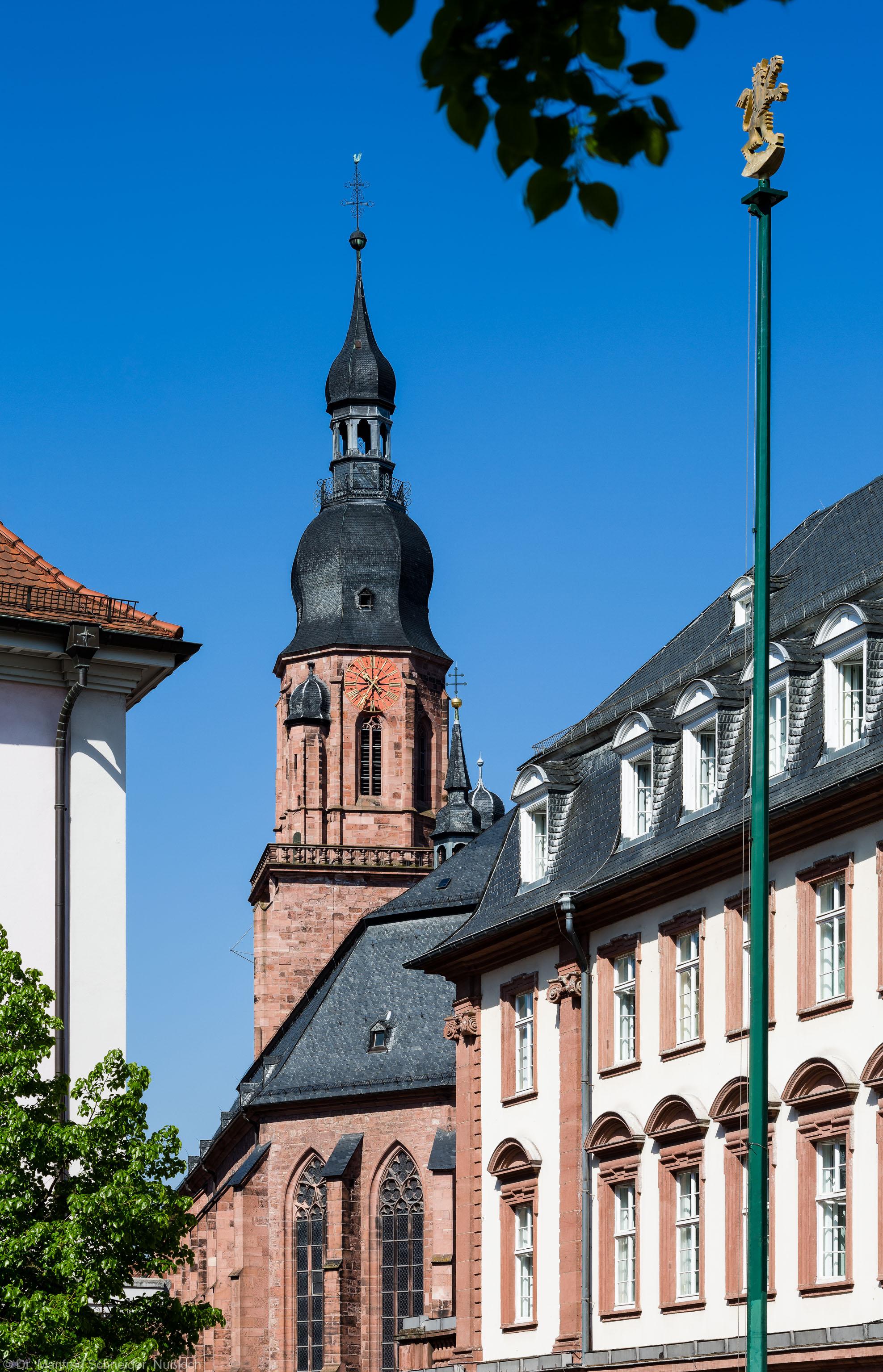 Heidelberg - Heiliggeistkirche - Ostseite - Blick vom Kornmarkt auf die Südostseite und den Turm (aufgenommen im Mai 2013, am späten Vormittag)