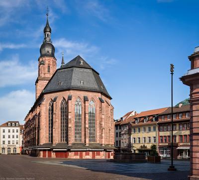 Heidelberg - Heiliggeistkirche - Ostseite - Blick von der östlichen Hauptstraße auf den Chor und den Turm (aufgenommen im Mai 2013, am Vormittag)