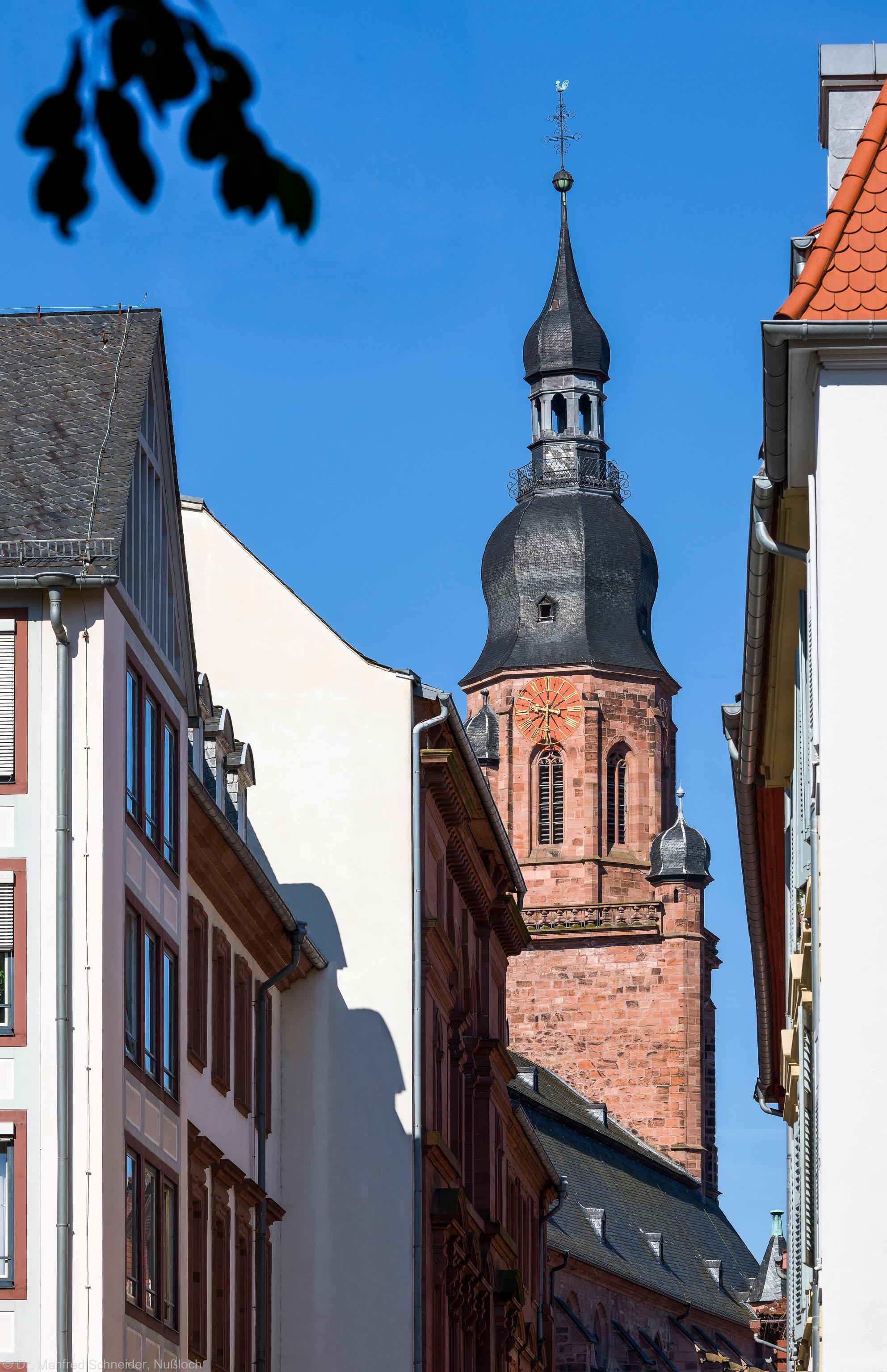 Heidelberg - Heiliggeistkirche - Ostseite - Blick von der Heiliggeiststraße nahe dem Schmitthennerhaus auf den Turm (aufgenommen im Juli 2013, am Vormittag)