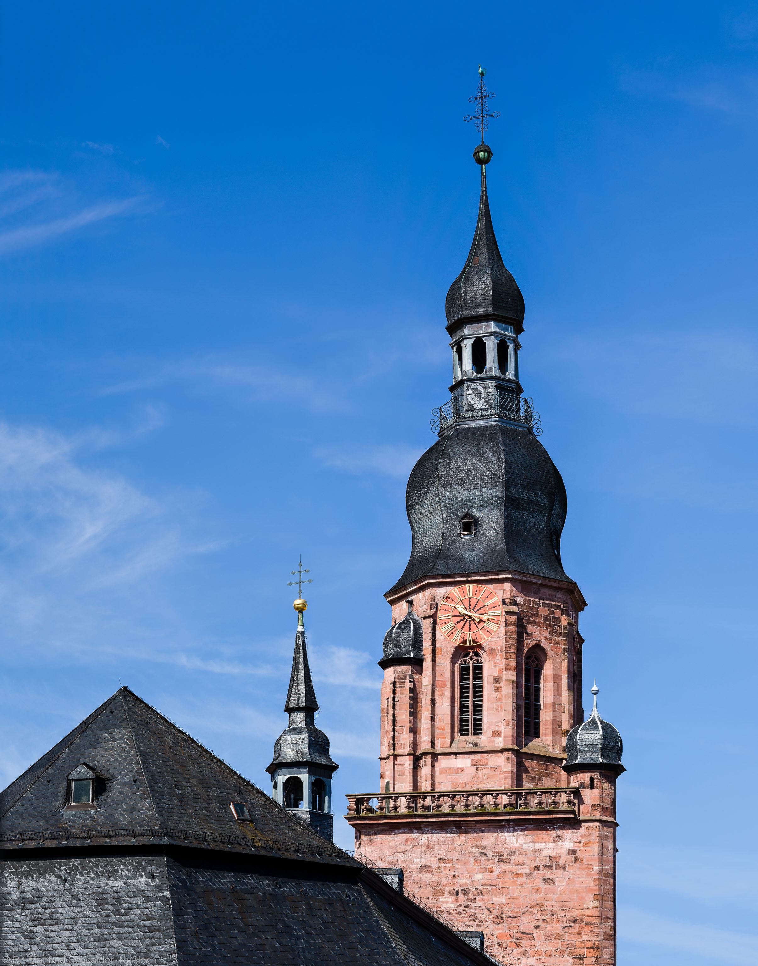 Heidelberg - Heiliggeistkirche - Ostseite - Blick vom Rathaus im 3. Stock auf den Turm (aufgenommen im Juli 2013, am späten Vormittag)