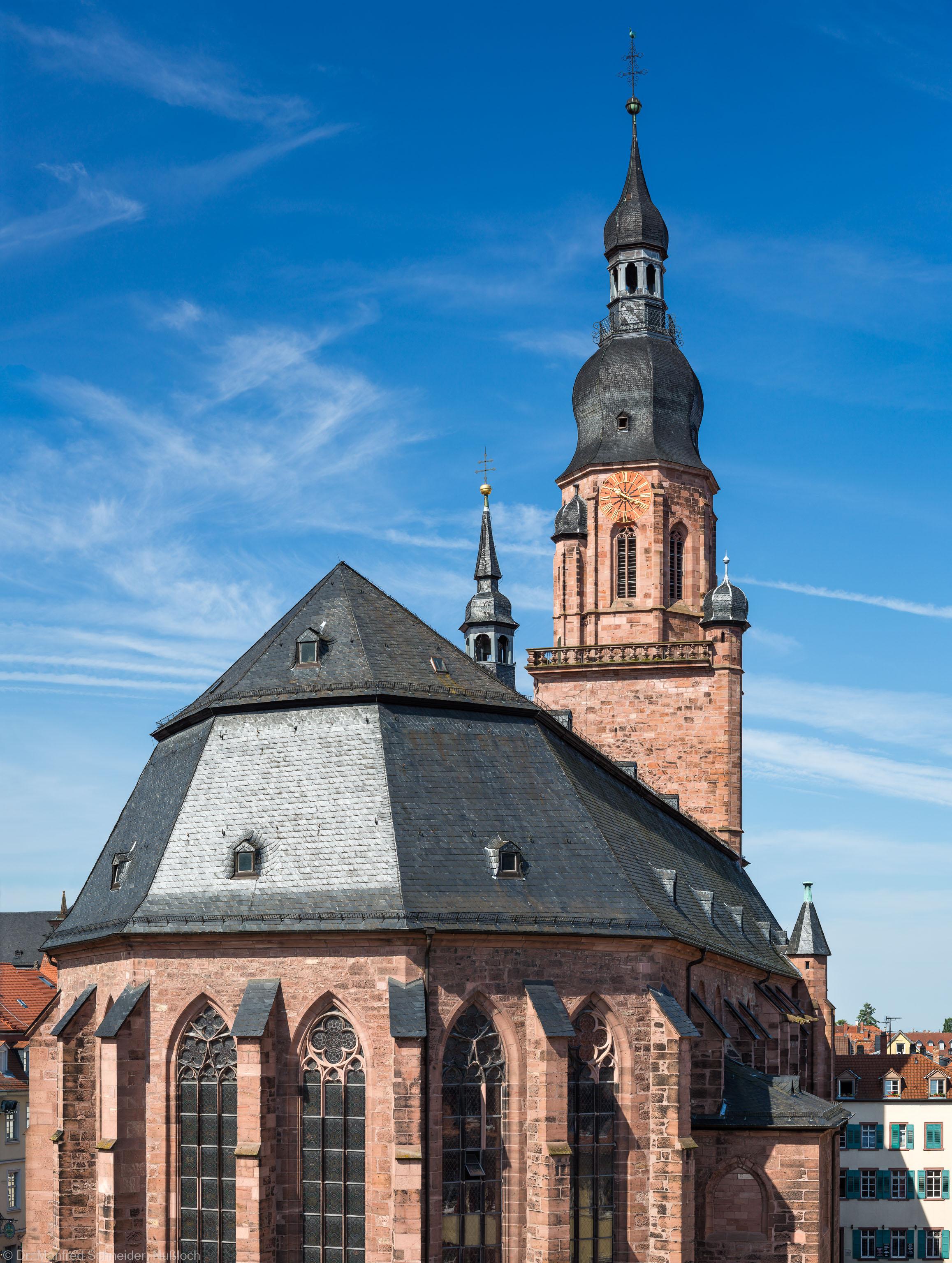 Heidelberg - Heiliggeistkirche - Ostseite - Blick vom Rathaus im 3. Stock auf die Nordostseite und den Turm (aufgenommen im Juli 2013, am späten Vormittag)