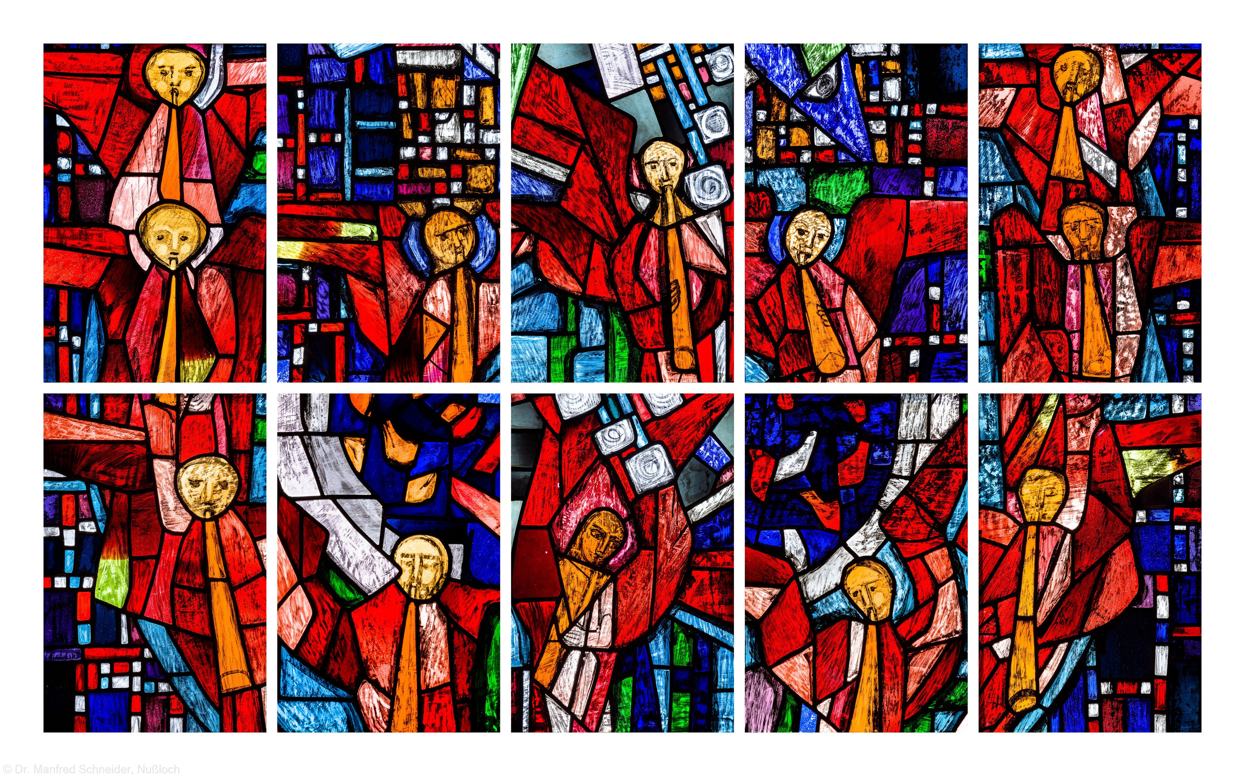 """Heidelberg - Heiliggeistkirche - Westempore - Engel aus dem """"Offenbarungsfenster"""" von Hans Gottfried von Stockhausen (aufgenommen im Juli 2013, am späten Nachmittag)"""