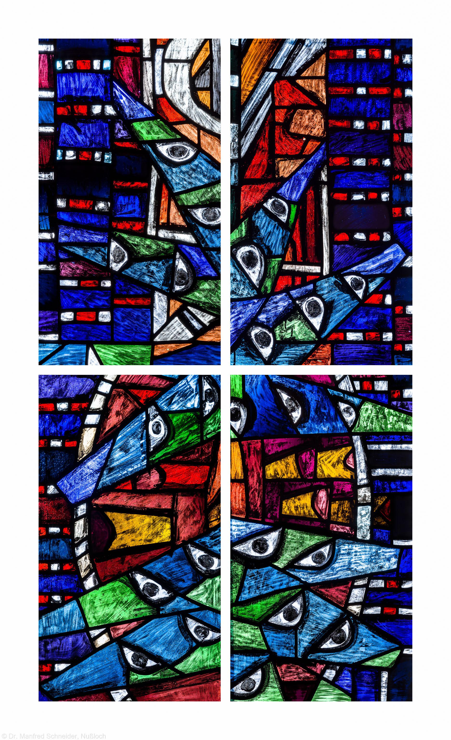 """Heidelberg - Heiliggeistkirche - Westempore - 4 Felder (1./2. Zeile, linke/rechte Bahn) des """"Offenbarungsfensters"""" von Hans Gottfried von Stockhausen (aufgenommen im Juli 2013, am späten Nachmittag)"""