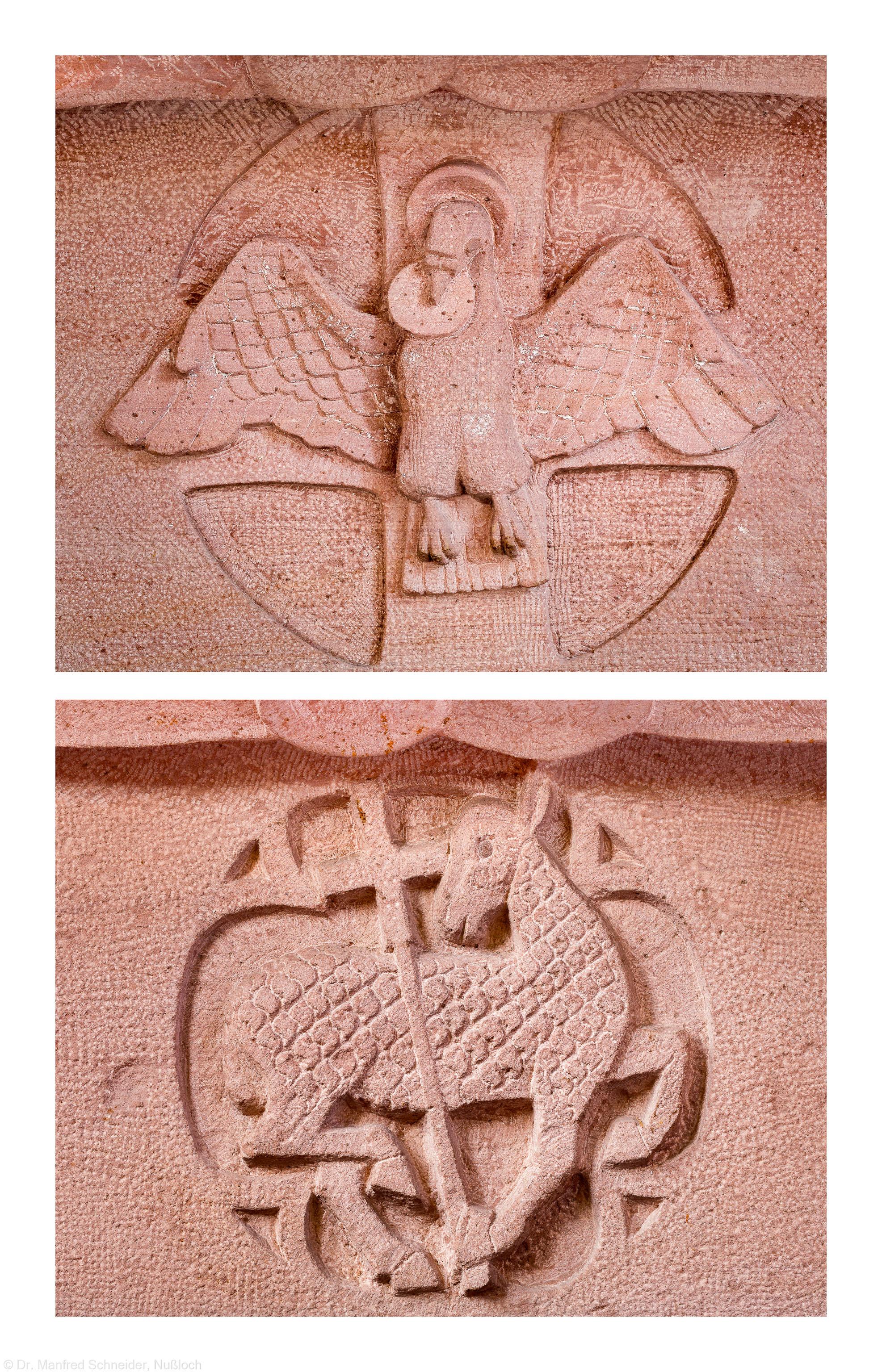 Heidelberg - Heiliggeistkirche - Altar von Edzard Hobbing - Symbole Heiliger Geist auf der Westseite und Lamm Gottes auf der Ostseite (aufgenommen im November 2013, vormittags)