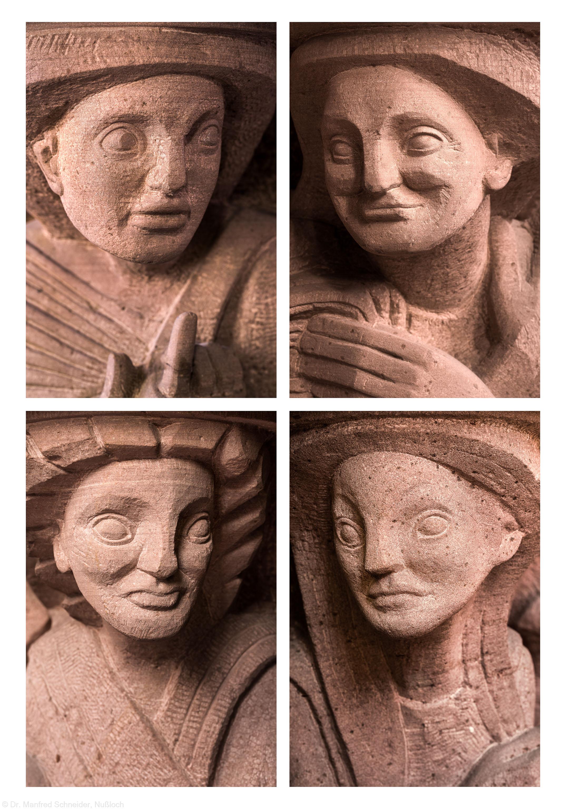Heidelberg - Heiliggeistkirche - Altar von Edzard Hobbing - Alle 4 Genien (v.l.n.r.: Nordwest, Südwest, Südost, Nordost) (aufgenommen im November 2013, vormittags und nachmittags)