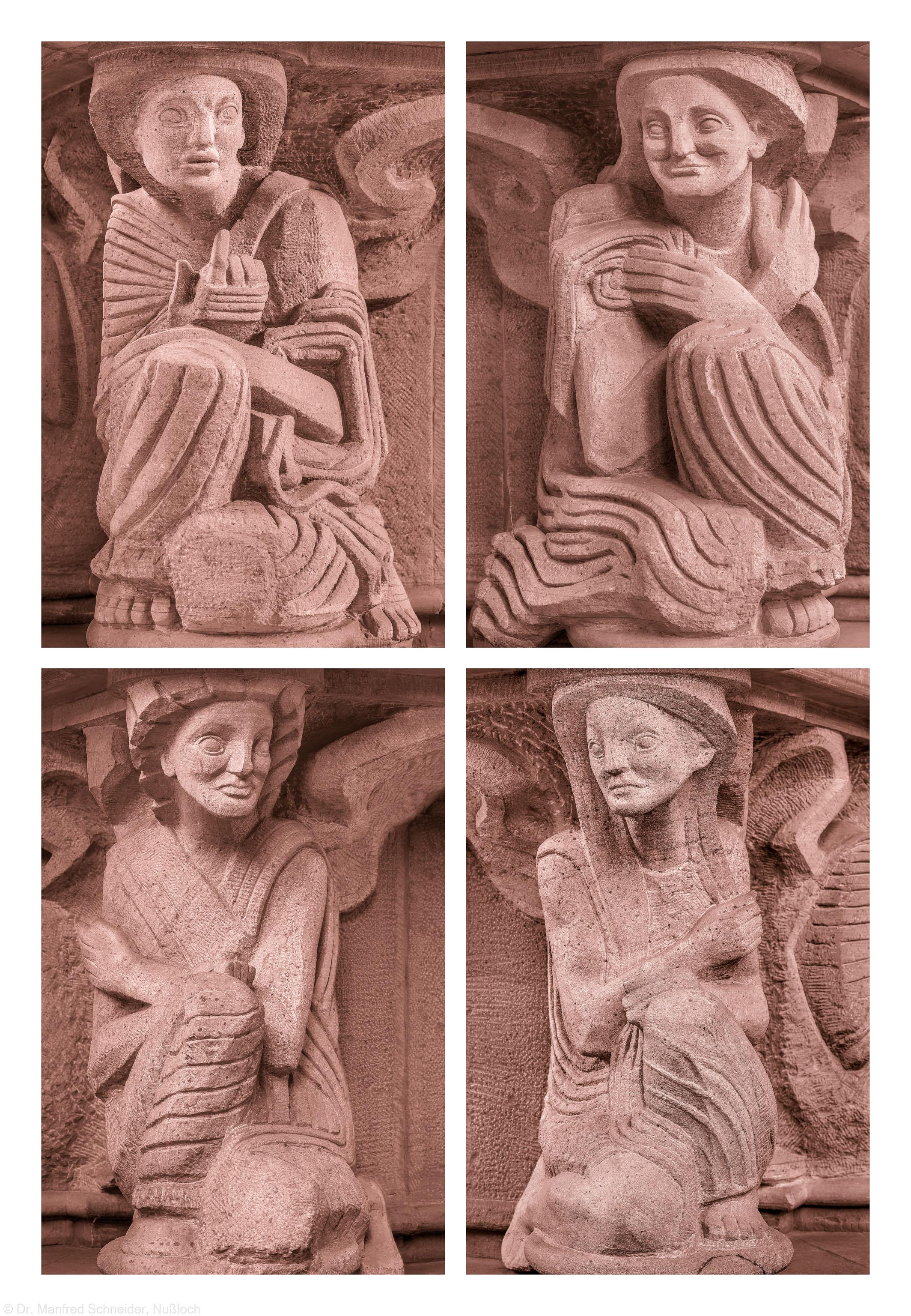 Heidelberg - Heiliggeistkirche - Altar von Edzard Hobbing - Alle 4 Genien (v.l.n.r.: Nordwest, Südwest, Südost, Nordost) (aufgenommen im November 2013, nachmittags)