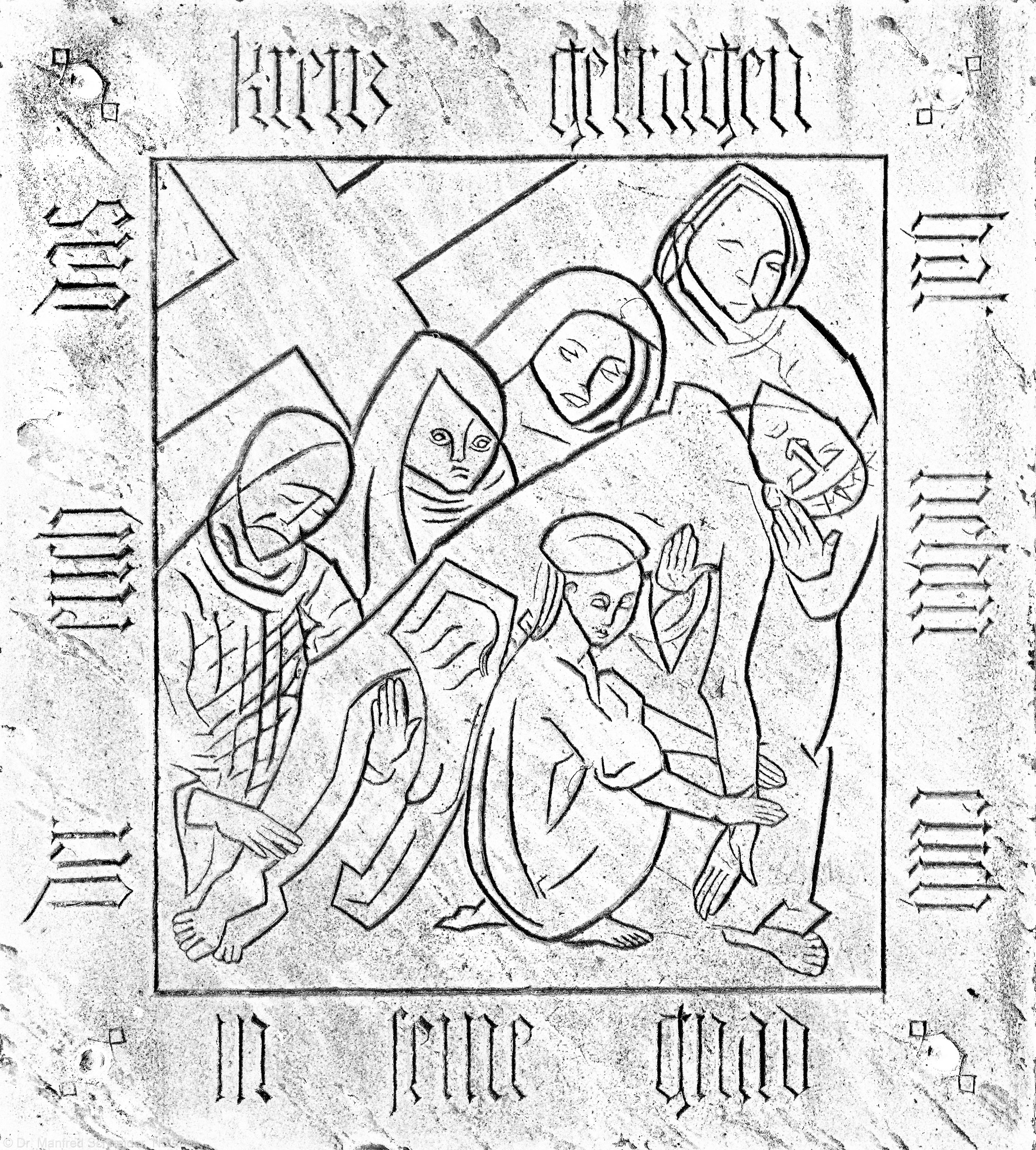 """Heidelberg - Heiliggeistkirche - Chor - Grabplatte (""""Der euch das Kreuz getragen hat nehm euch in seine Gnad""""), östlich des Altars, im Boden eingelegt (aufgenommen im November 2013, am frühen Nachmittag)"""