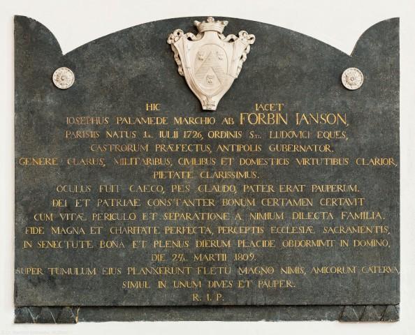 """Heidelberg - Heiliggeistkirche - Chor - Epitaph (""""Joseph Palamede de Forbin-Janson""""), an Nordostwand des Chors (aufgenommen im Dezember 2013, um die Mittagszeit)"""