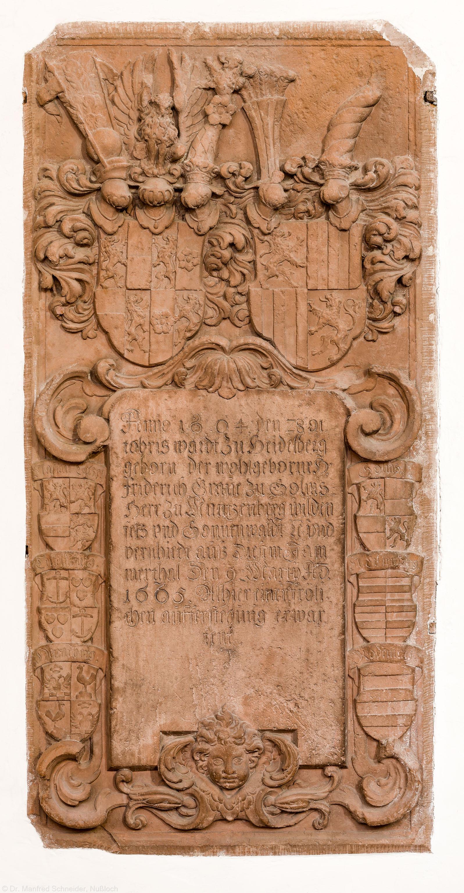"""Heidelberg - Heiliggeistkirche - Chor - Epitaph (""""Friderich zu Solms""""), an Nordwand des Chors (aufgenommen im Januar 2014, am späten Vormittag)"""