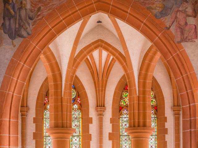 Heidelberg - Heiliggeistkirche - Chor - Blick von der Westempore in das Gewölbe des Chors (aufgenommen im Januar 2014, am Nachmittag)