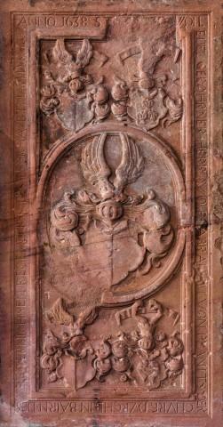 Heidelberg - Heiliggeistkirche - Südschiff - 1. Epitaph, von Westen aus gezählt, an Wand des südlichen Seitenschiffs (aufgenommen im Februar 2014, am frühen Nachmittag)