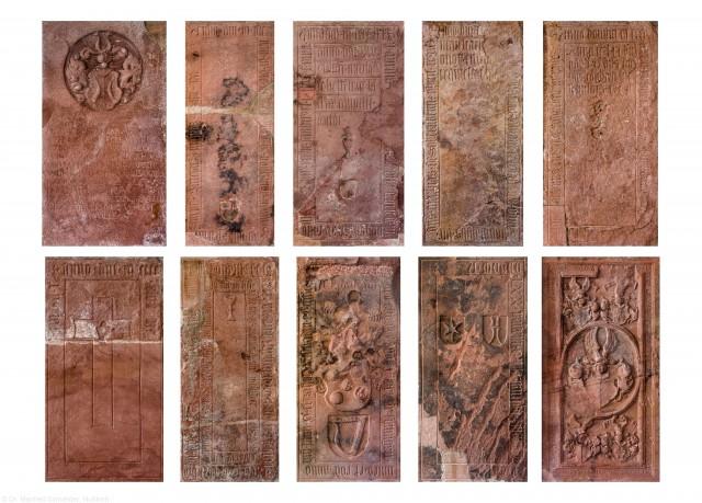 Heidelberg - Heiliggeistkirche - Südschiff - v.l.n.r., v.o.n.u: 10. bis 1. Epitaph, von Westen aus gezählt, an Wand des südlichen Seitenschiffs (aufgenommen im Februar 2014, vormittags und nachmittags)
