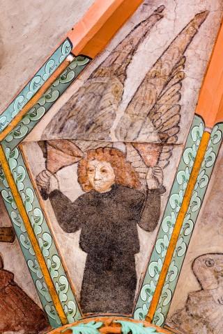 """Heidelberg - Heiliggeistkirche - Mittelschiff - Engel (Position 7 Uhr) aus der Gewölbemalerei """"Engelskonzert"""" (aufgenommen im Februar 2014, am Nachmittag)"""