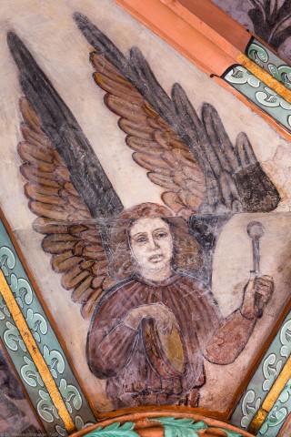 """Heidelberg - Heiliggeistkirche - Mittelschiff - Engel (Position 2 Uhr) aus der Gewölbemalerei """"Engelskonzert"""" (aufgenommen im Februar 2014, am Nachmittag)"""
