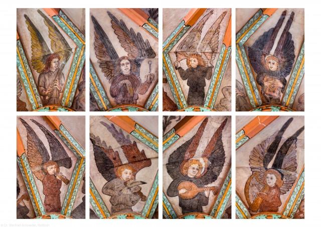 """Heidelberg - Heiliggeistkirche - Mittelschiff - Alle 8 Engel aus der Gewölbemalerei """"Engelskonzert"""" (aufgenommen im Februar/März 2014, nachmittags)"""