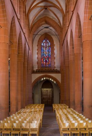 Heidelberg - Heiliggeistkirche - Mittelschiff - Blick vom Triumphbogen nach Westen in das Schiff und auf die Westempore (aufgenommen im Mai 2014, am Vormittag)