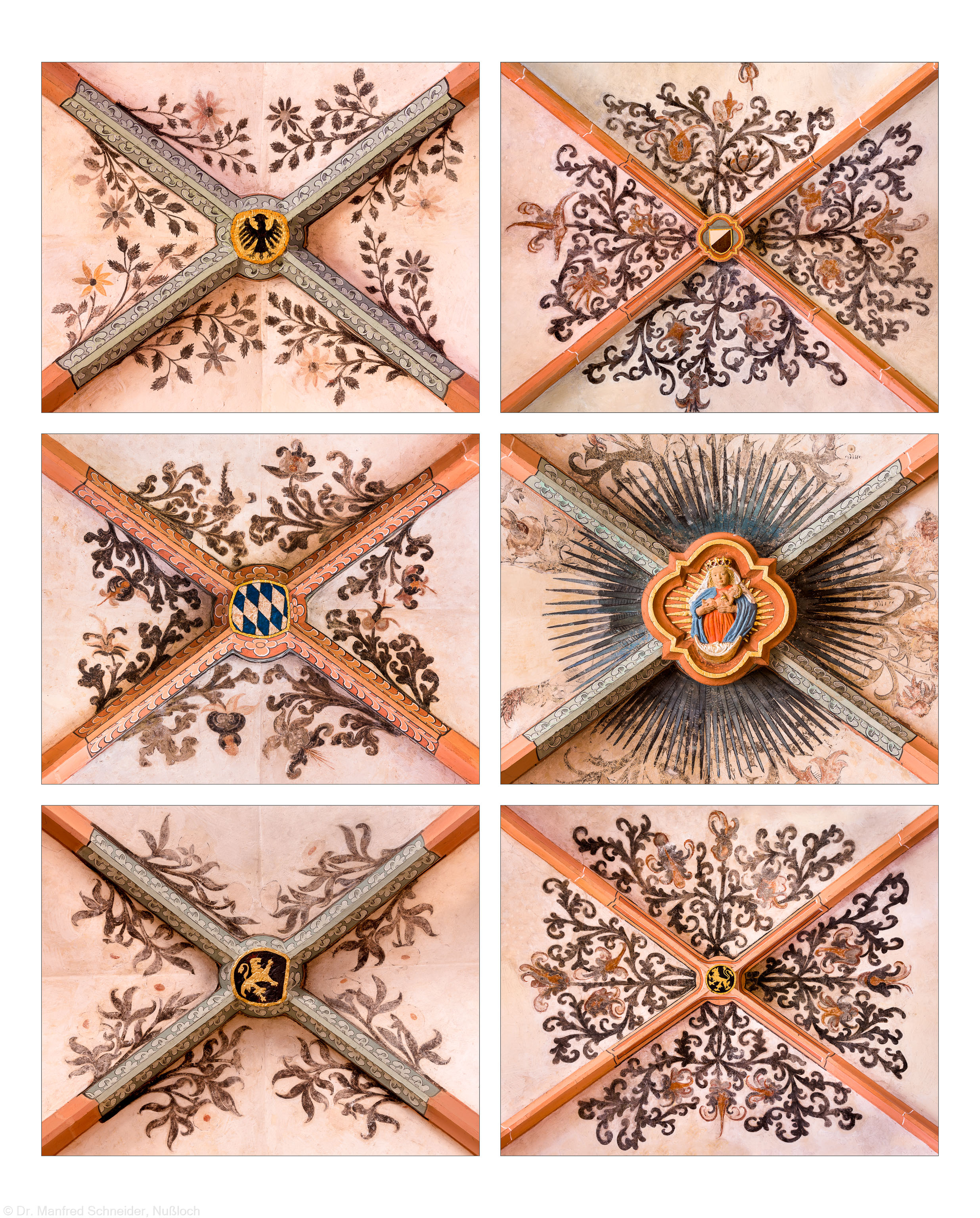 Heidelberg - Heiliggeistkirche - Südschiff - Schlußsteine mit Ornamenten, v.l.n.r.: 3., 1., 4., 6., 5., und 2. Joch, von Westen aus gezählt (aufgenommen im April 2015, nachmittags)