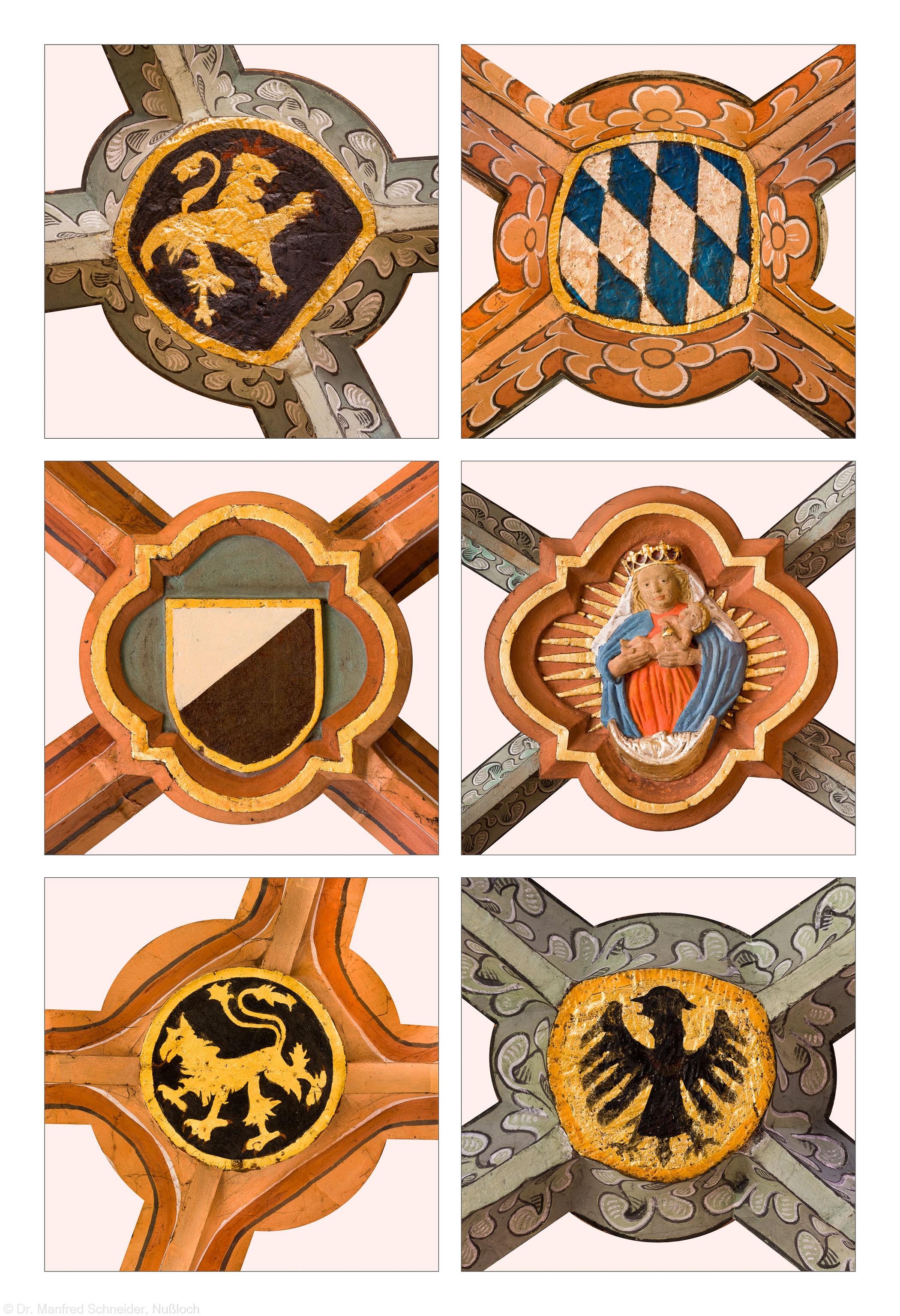 Heidelberg - Heiliggeistkirche - Südschiff - Schlußsteine, v.l.n.r.: 5., 4., 1., 6., 2. und 3. Joch, von Westen aus gezählt (aufgenommen im April 2015, nachmittags)
