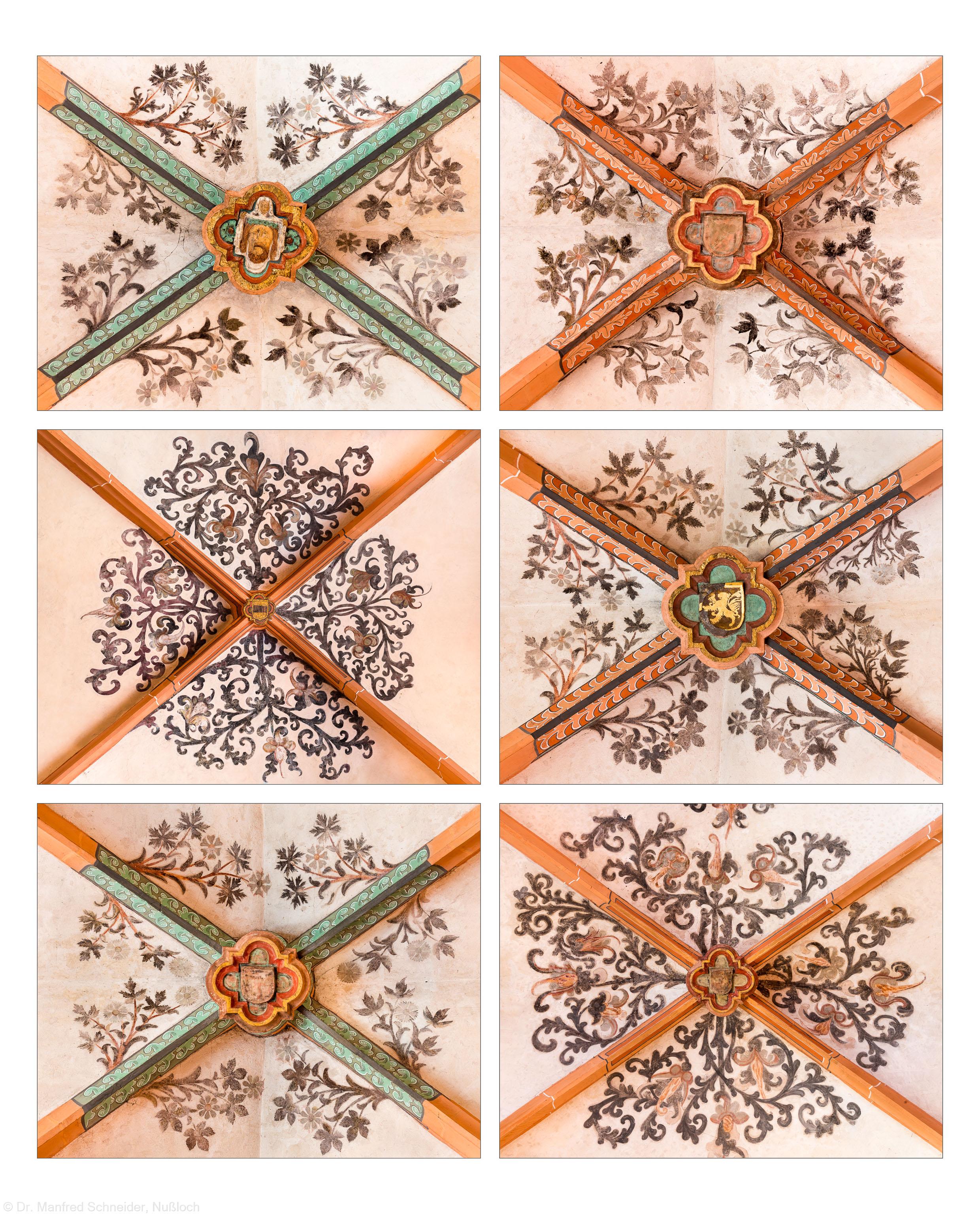 Heidelberg - Heiliggeistkirche - Nordschiff - Schlußsteine mit Ornamenten, v.l.n.r.: 5., 6., 1., 3., 4., und 2. Joch, von Westen aus gezählt (aufgenommen im April 2015, nachmittags)