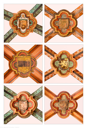 Heidelberg - Heiliggeistkirche - Nordschiff - Schlußsteine, v.l.n.r.: 5., 6., 1., 3., 4., und 2. Joch, von Westen aus gezählt (aufgenommen im April / Mai 2015, nachmittags)