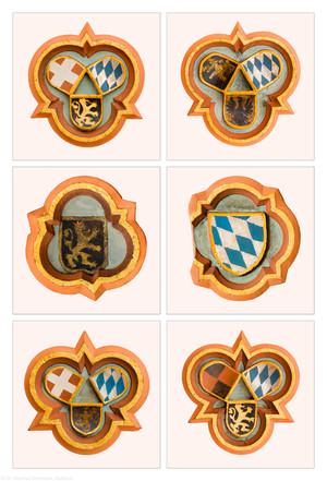 Heidelberg - Heiliggeistkirche - Südempore - Schlußsteine, v.l.n.r.: 4./6./2./1./3./5. Joch, von Westen aus gezählt (aufgenommen im Mai 2015, vormittags)