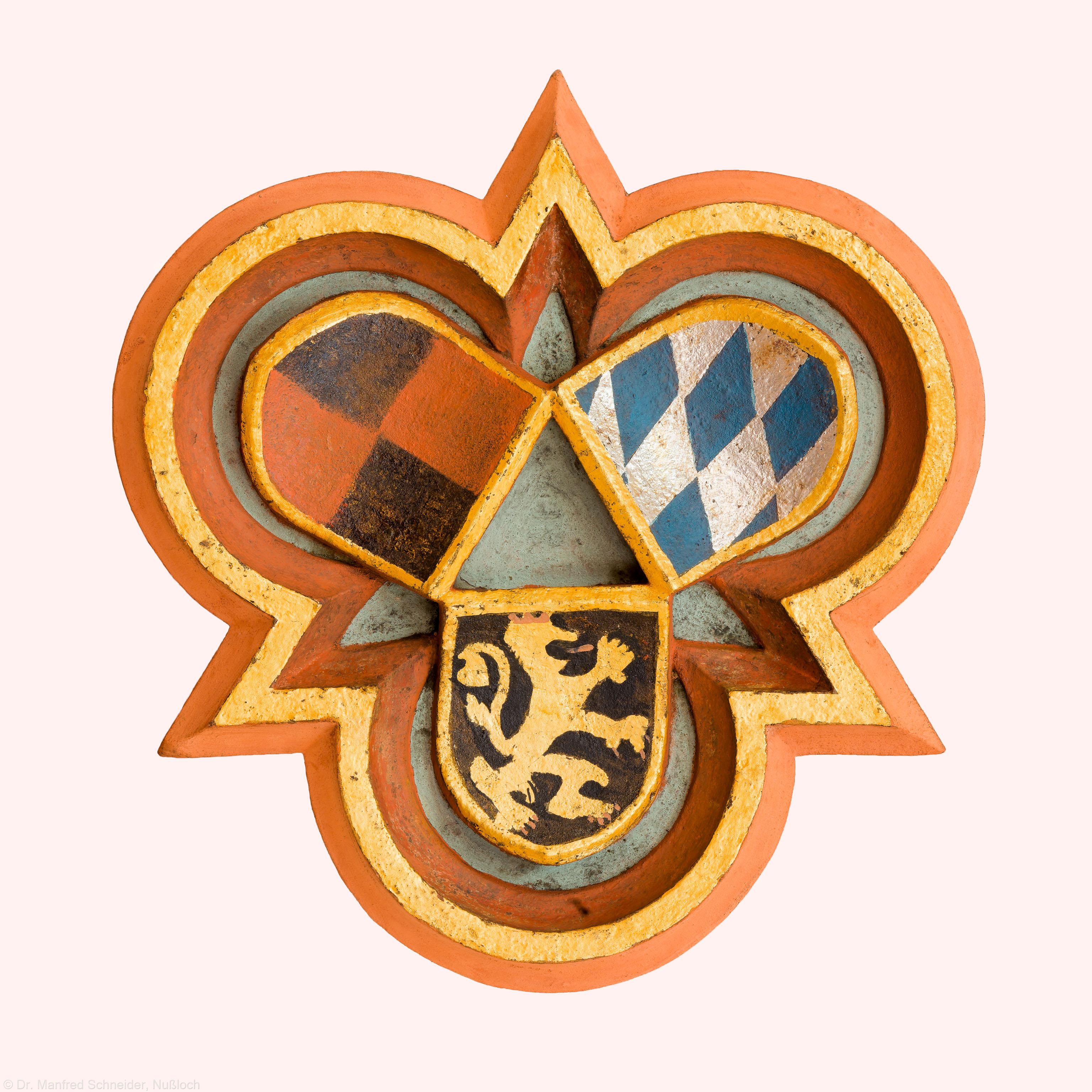 Heidelberg - Heiliggeistkirche - Südempore - Schlußstein, 5. Joch, von Westen aus gezählt (aufgenommen im Mai 2015, um die Mittagszeit)