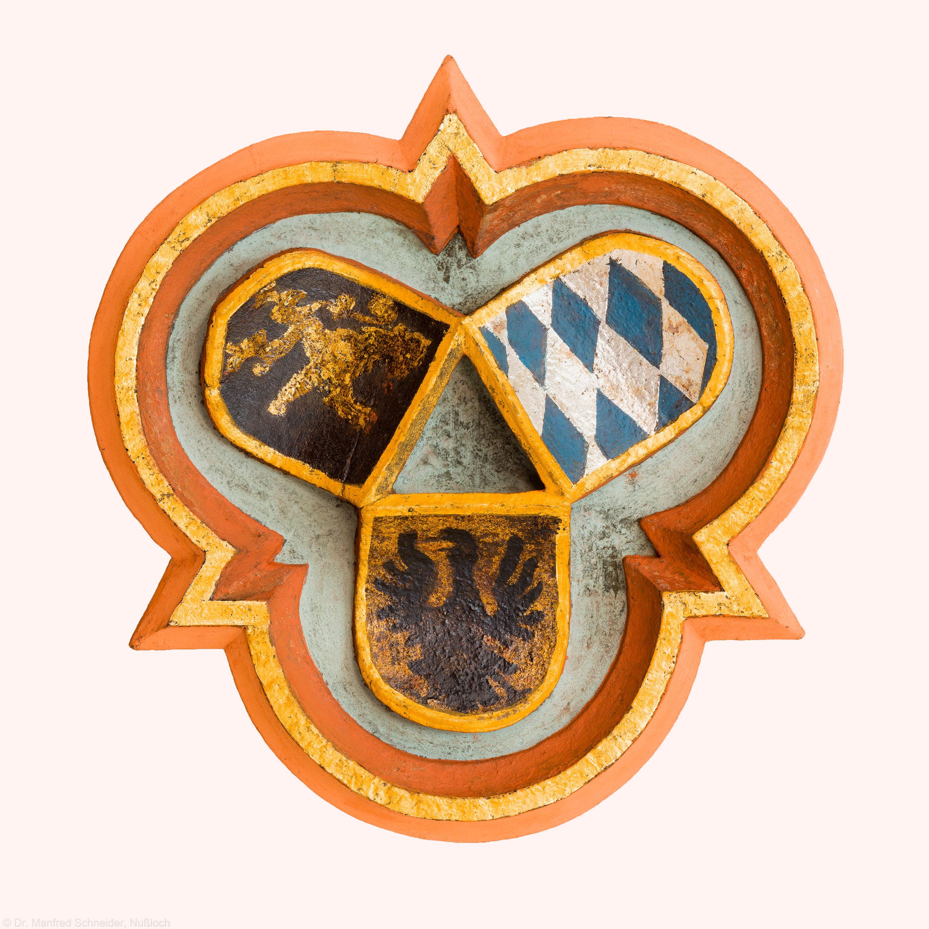 Heidelberg - Heiliggeistkirche - Südempore - Schlußstein, 6. Joch, von Westen aus gezählt (aufgenommen im Mai 2015, um die Mittagszeit)