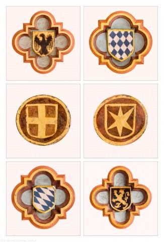 Heidelberg - Heiliggeistkirche - Nordempore - Schlußsteine, v.l.n.r.: 6./3./2./1./4./5. Joch, von Westen aus gezählt (aufgenommen im Mai 2015, nachmittags)
