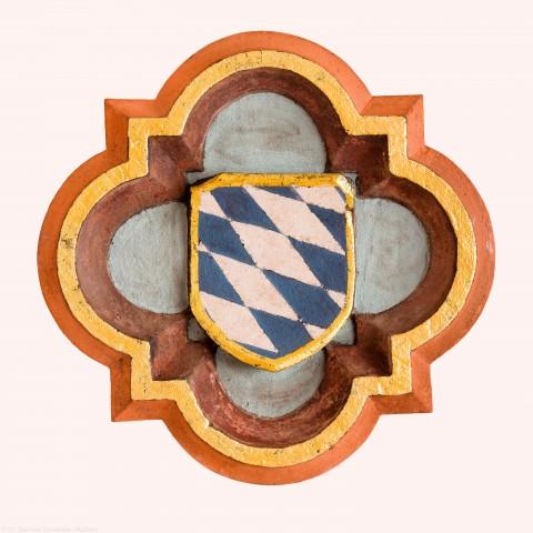 Heidelberg - Heiliggeistkirche - Nordempore - Schlußstein, 4. Joch, von Westen aus gezählt (aufgenommen im Mai 2015, am Nachmittag)