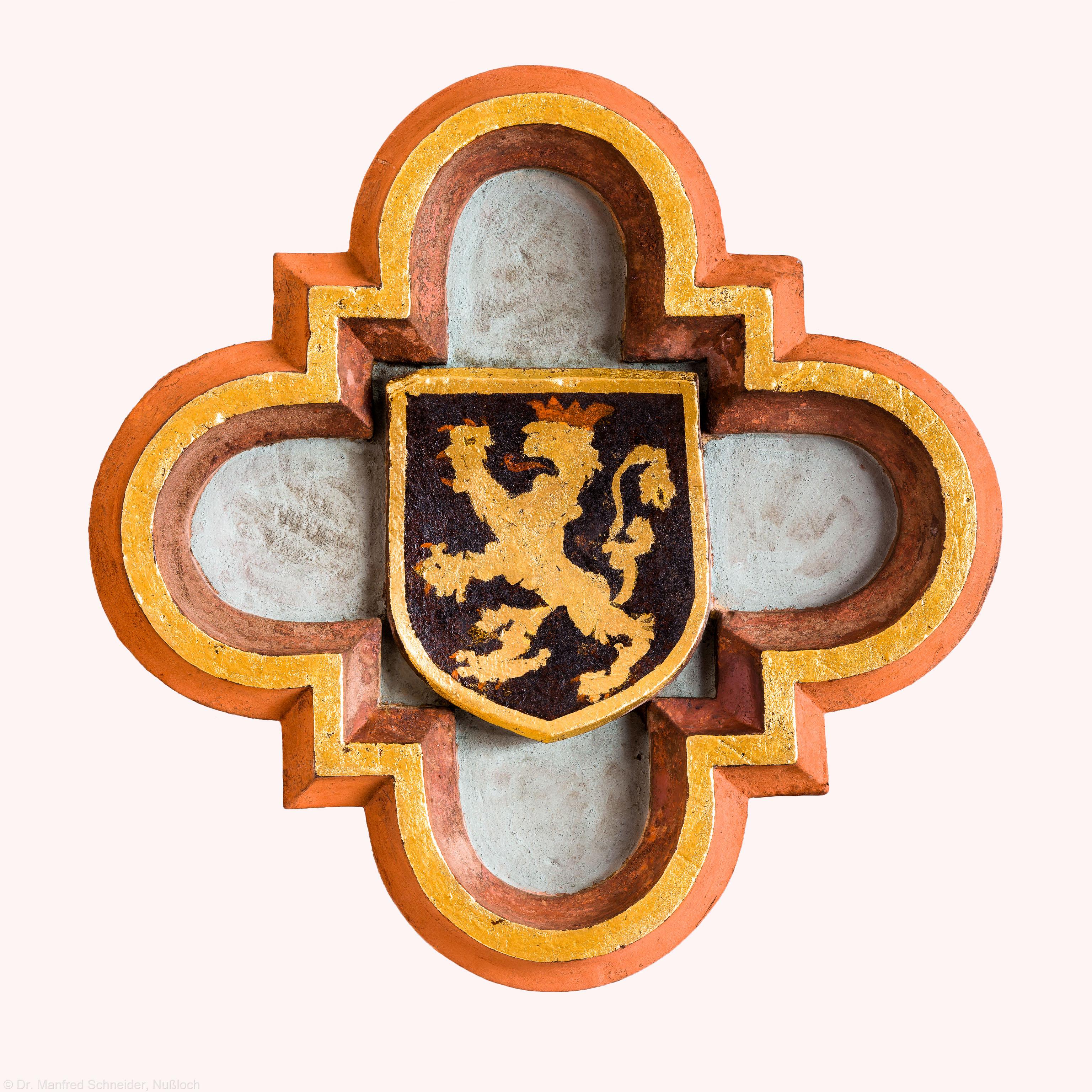 Heidelberg - Heiliggeistkirche - Nordempore - Schlußstein, 5. Joch, von Westen aus gezählt (aufgenommen im Mai 2015, am Nachmittag)