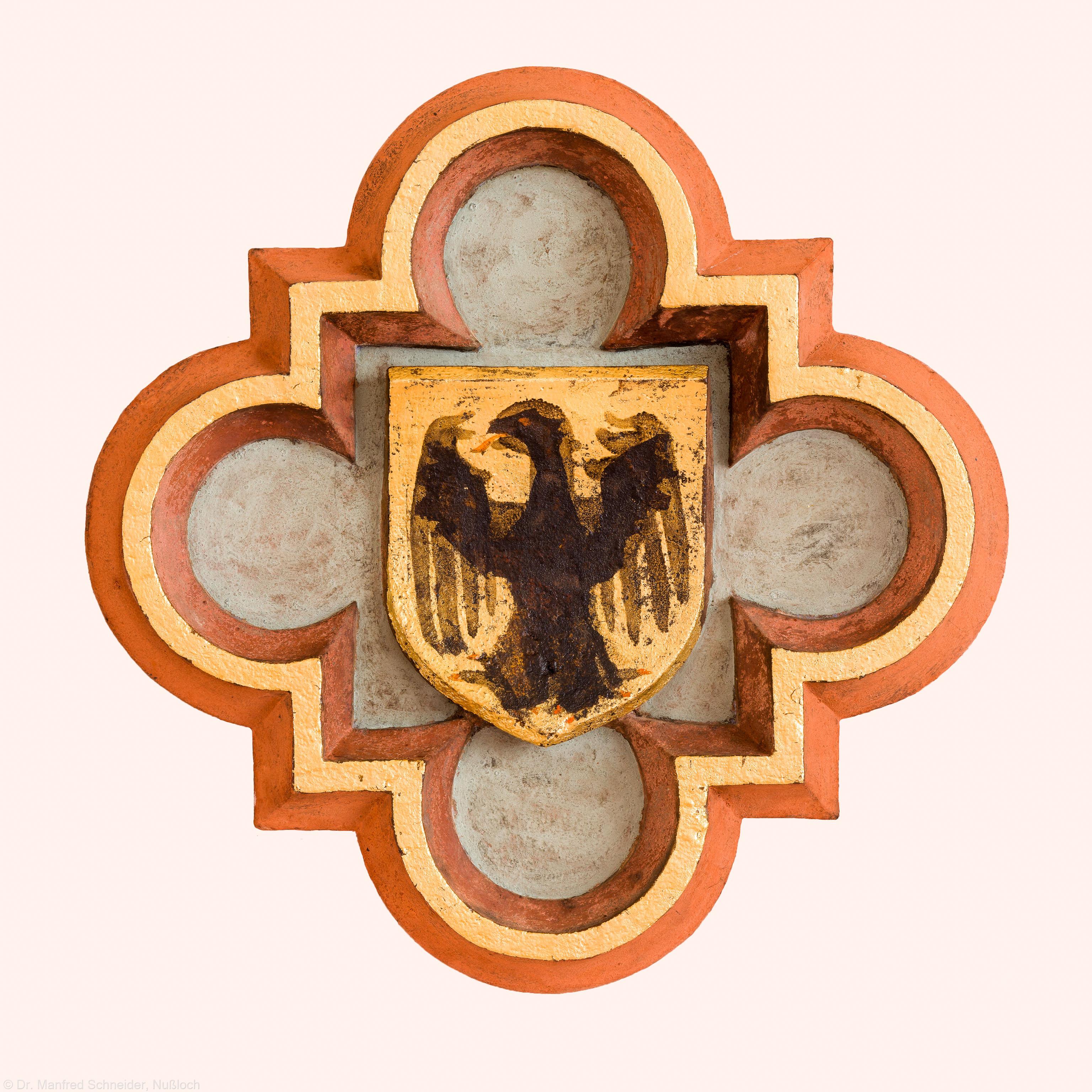 Heidelberg - Heiliggeistkirche - Nordempore - Schlußstein, 6. Joch, von Westen aus gezählt (aufgenommen im Mai 2015, am Nachmittag)