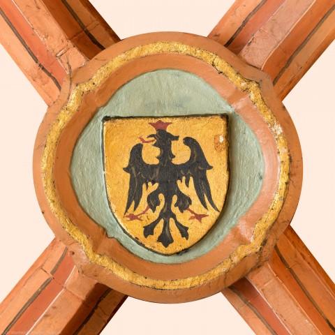 Heidelberg - Heiliggeistkirche - Turm - Südlicher Eingangsbereich - Schlussstein (aufgenommen im Mai 2015, am späten Nachmittag)