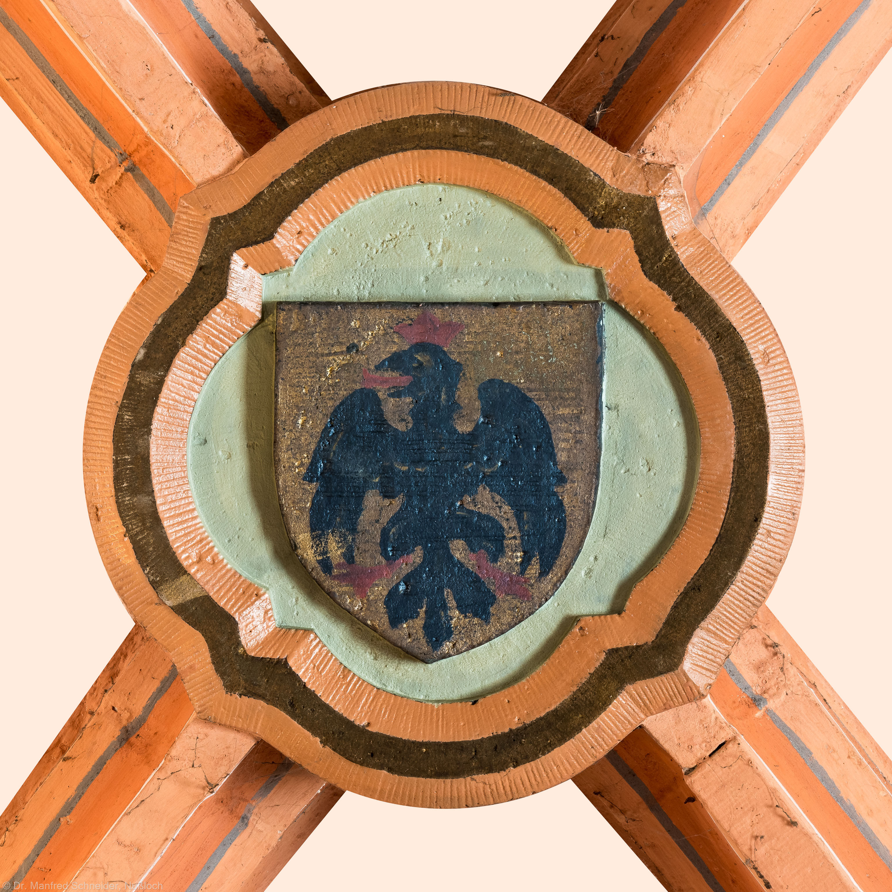 Heidelberg - Heiliggeistkirche - Turm - Nördlicher Eingangsbereich - Schlussstein (aufgenommen im Mai 2015, am späten Nachmittag)