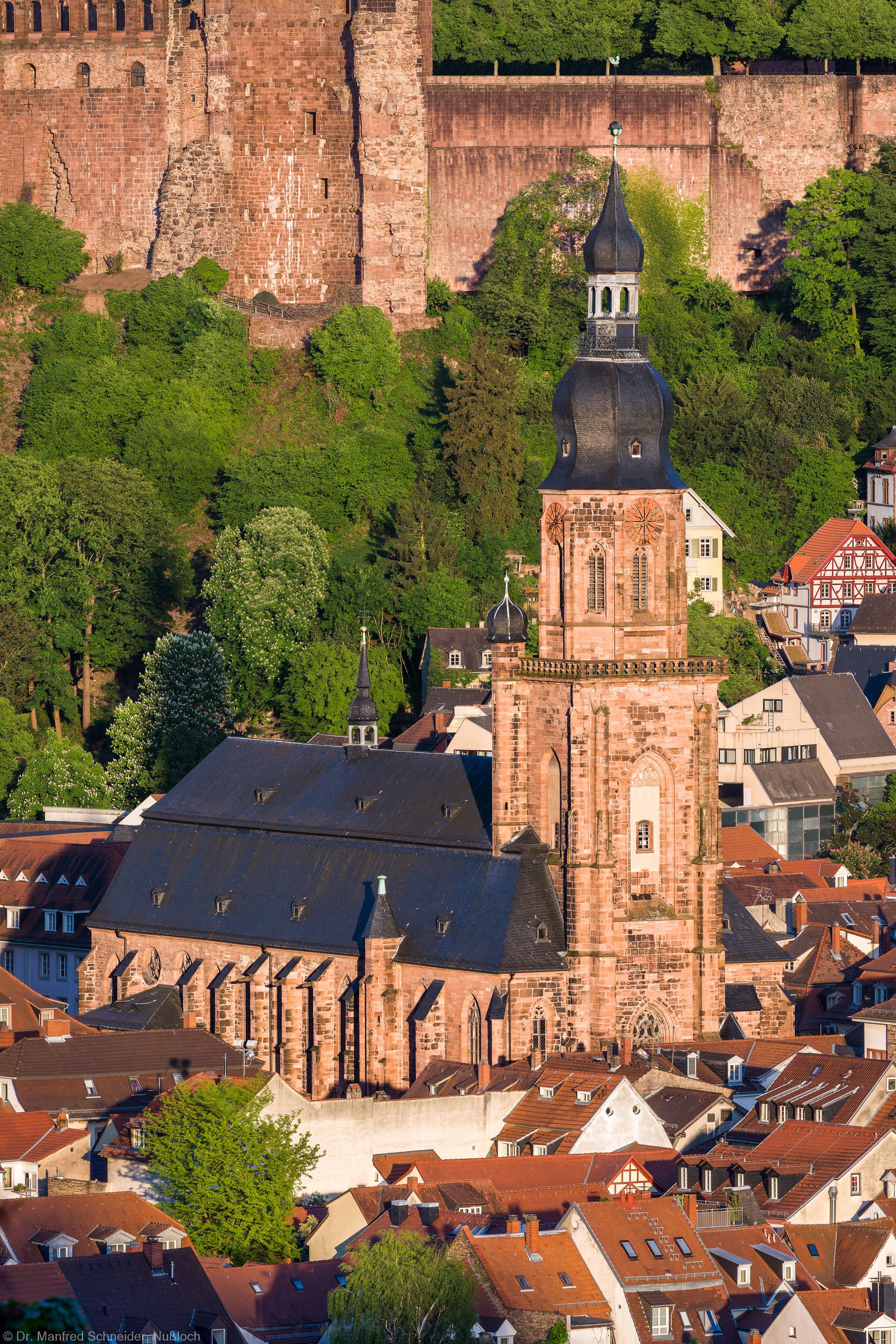 Heidelberg - Heiliggeistkirche - Aussen / Nordwest - Blick vom Philosophenweg auf die Nordwestseite (aufgenommen im Mai 2015, am Abend)