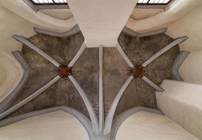 Heidelberg - Heiliggeistkirche - Sakristei - Blick in das Gewölbe (aufgenommen im Mai 2015, am frühen Nachmittag)