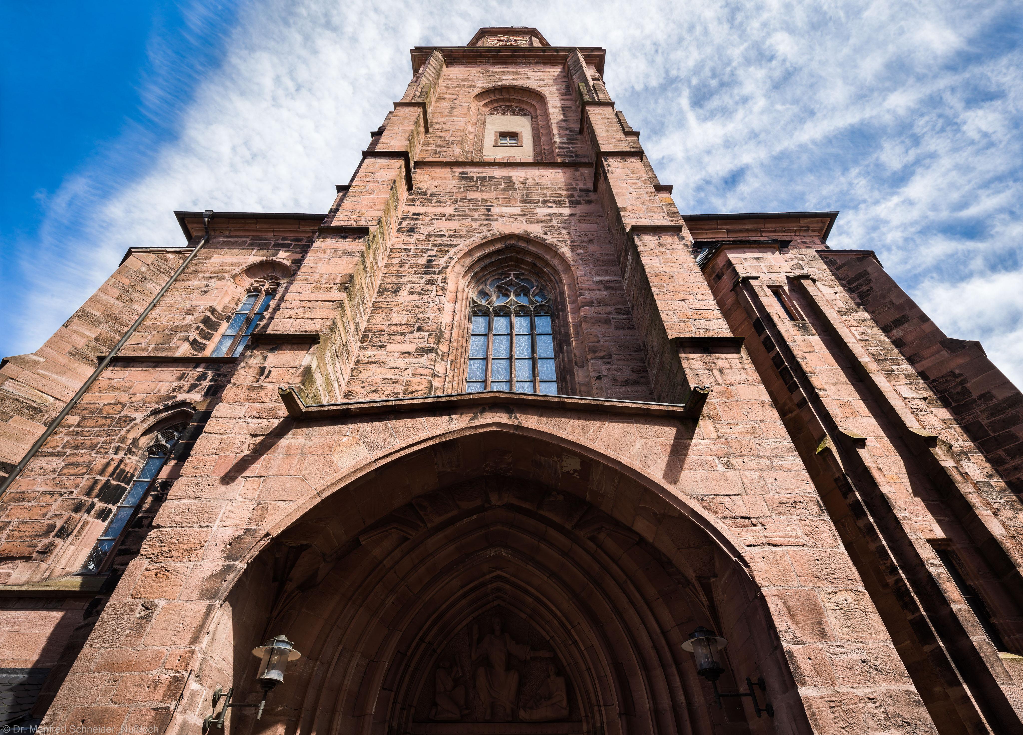 Heidelberg - Heiliggeistkirche - Aussen / West - Blick nach oben auf das Westwerk und den Turm (aufgenommen im Mai 2015, am Nachmittag)