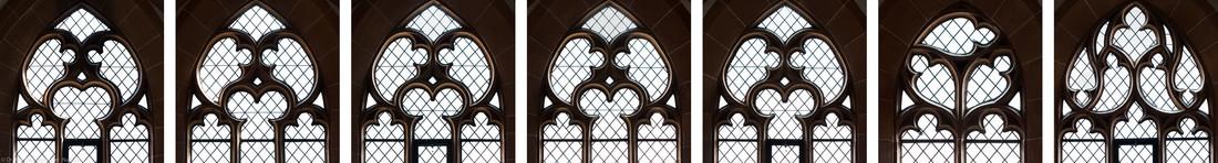 Heidelberg - Heiliggeistkirche - Südempore - Fenstermaßwerke (v.l.n.r.: 6. bis 1. Joch, von Westen aus gezählt, dann Südwestseite) (aufgenommen im Mai 2015, nachmittags)