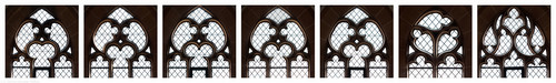 Heidelberg - Heiliggeistkirche - Südempore - Fenstermaßwerke (v.l.n.r.: 6. bis 1. Joch, von Westen aus gezählt) (aufgenommen im Mai 2015, nachmittags)
