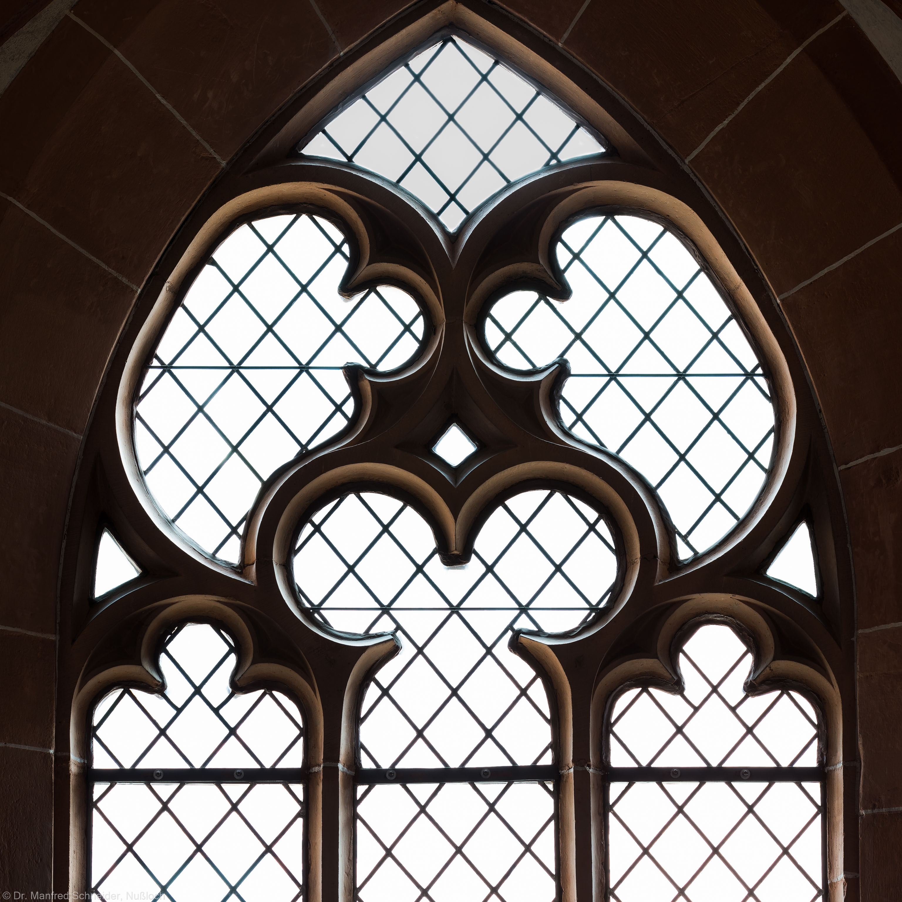 Heidelberg - Heiliggeistkirche - Südempore - 3. Joch, von Westen aus gezählt - Fenstermaßwerk (aufgenommen im Mai 2015, am späten Nachmittag)