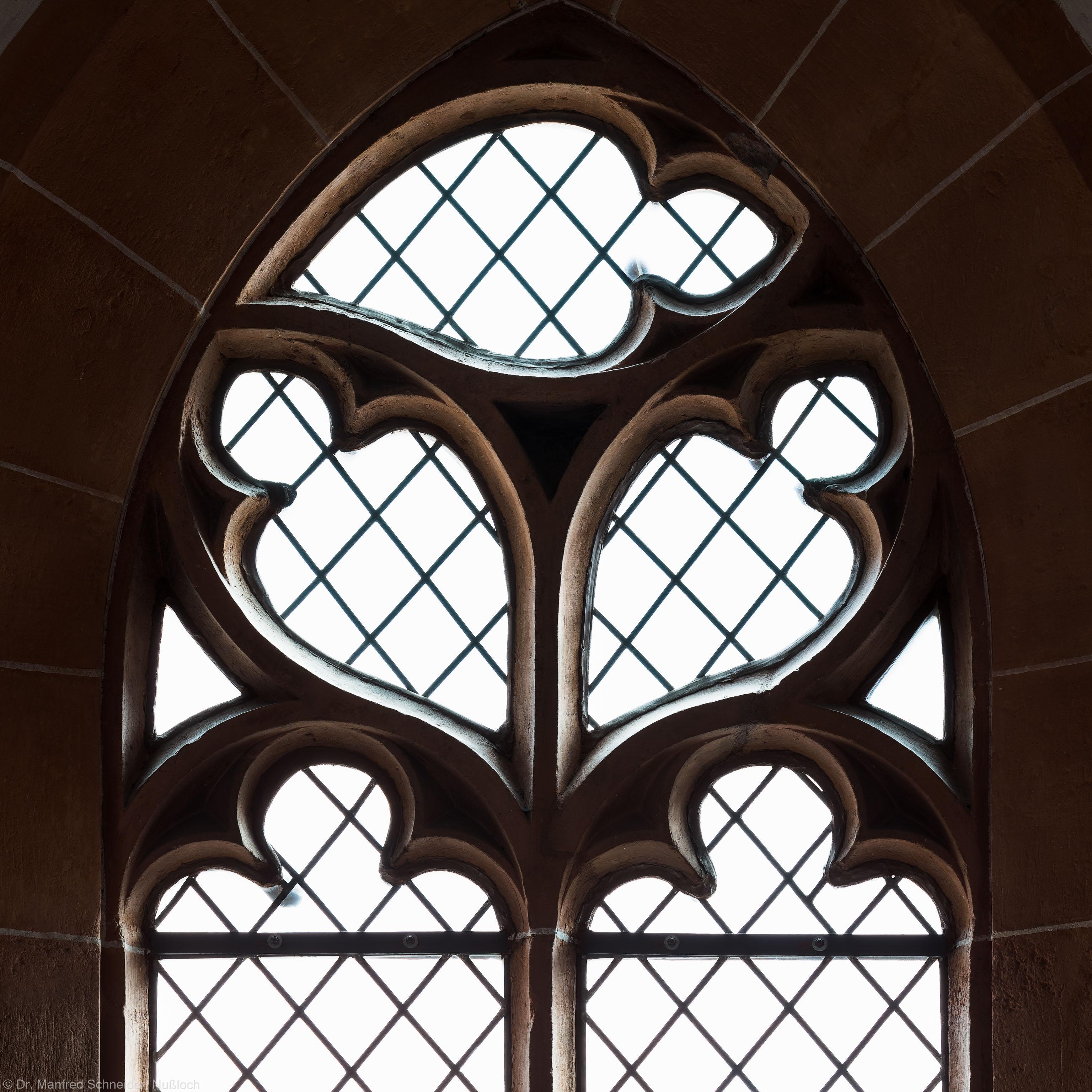 Heidelberg - Heiliggeistkirche - Südempore - 1. Joch, von Westen aus gezählt - Fenstermaßwerk (aufgenommen im Mai 2015, am späten Nachmittag)