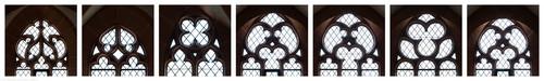 Heidelberg - Heiliggeistkirche - Nordempore - Fenstermaßwerke (v.l.n.r.: Nordwestseite, dann 1. bis 6. Joch, von Westen aus gezählt) (aufgenommen im Mai 2015, nachmittags)